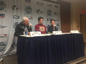 Boston College head coach Jerry York and players address the media. (Photo: Kirby Paulson)