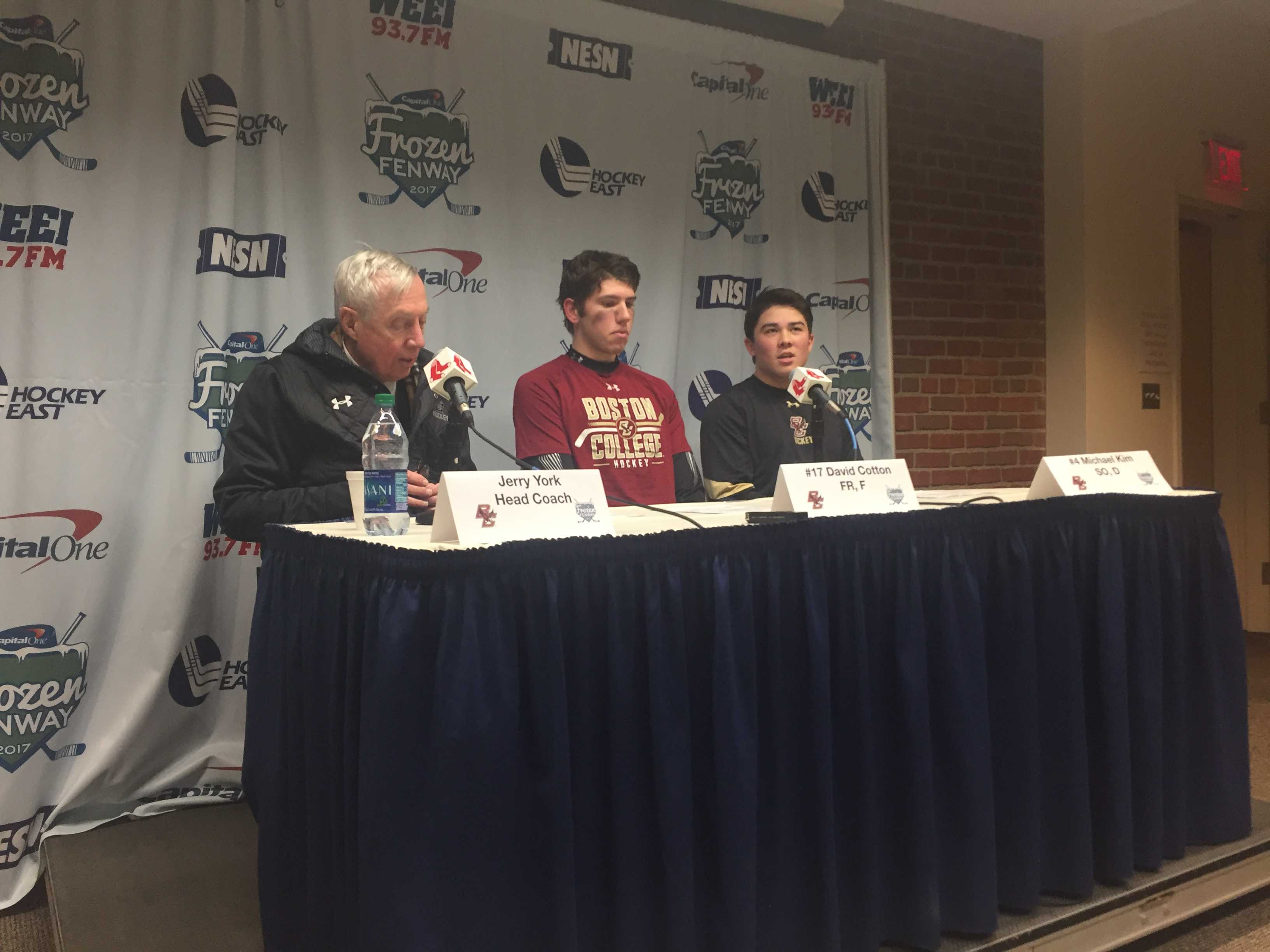 Boston College head coach Jerry York and players address the media. (Photo:  Kirby