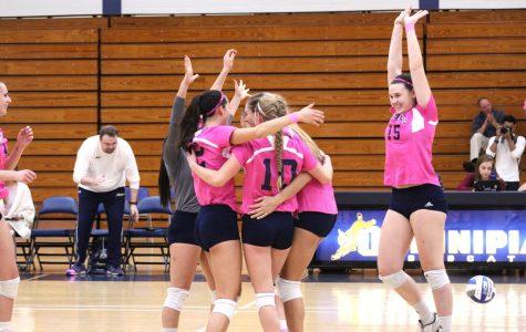 Quinnipiac women's volleyball wins last regular season home game, defeats Rider 3-1