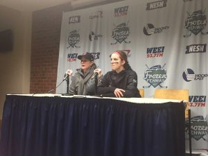 Katie Crowley and Erin Connolly address the media following Boston College's 3-1 victory. (Photo: Kirby Paulson)