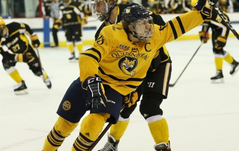 Quinnipiac men's ice hockey clinches first round bye with senior night win