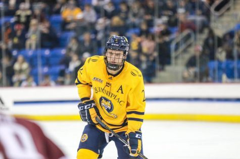 Late Goals Push Men's Hockey to Brink of Elimination Against Brown